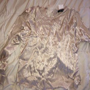 Satin open shoulder blouse